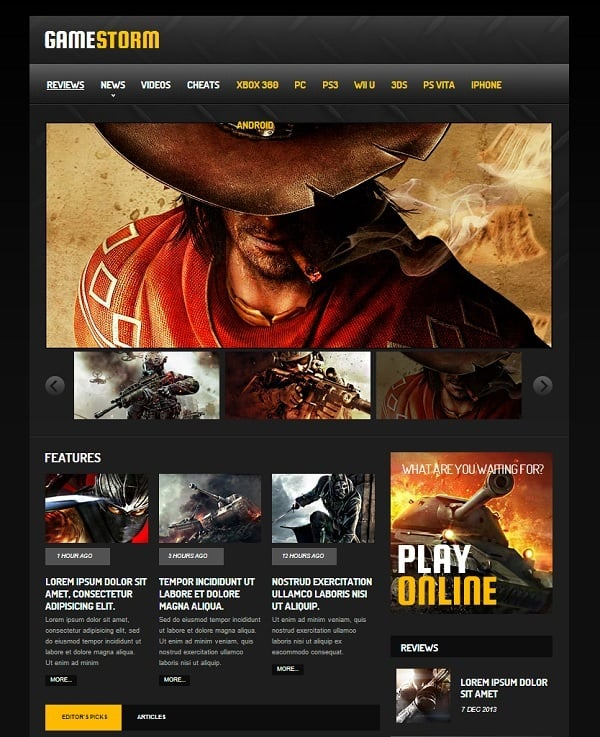 Gaming Website Template with Slider