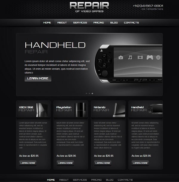 Computer and Gaming Software Repair Website Template