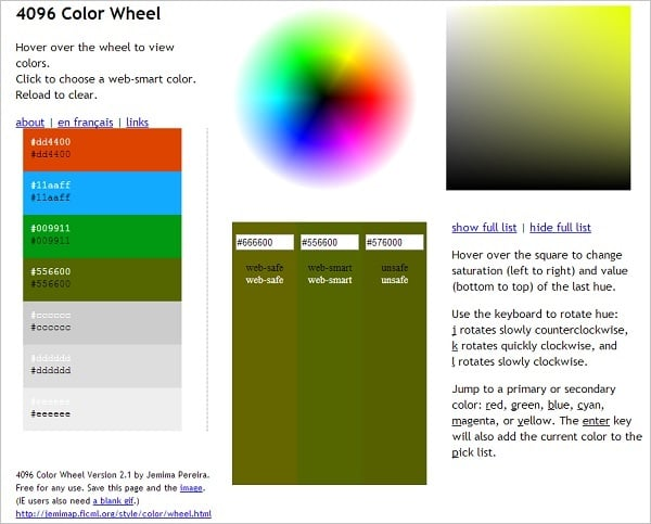 4096 Color Wheel Color Palette Generator