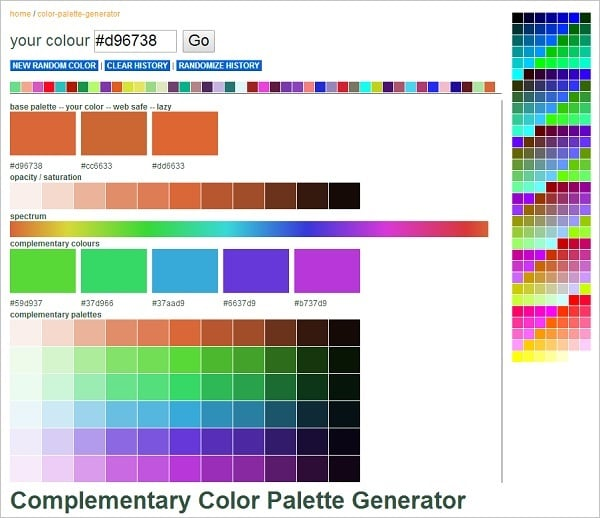 Web Colors Palette Generator