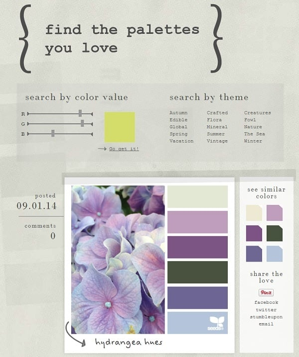 Design Seeds Color Palette Inspiration