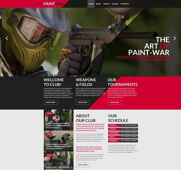 Paintball Flat Website Template