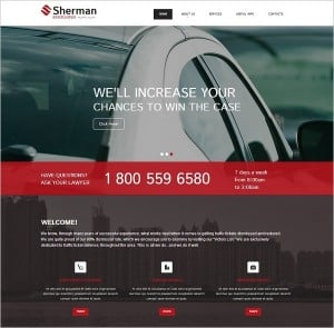 Flat Website Template with Red buttons