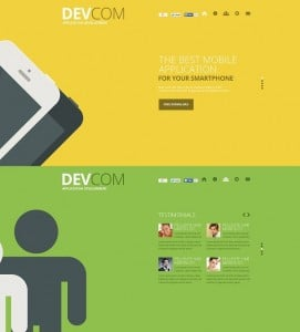 Flat Website Template with Long Shadow Effect