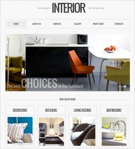Interior Design Website Template with Catalog