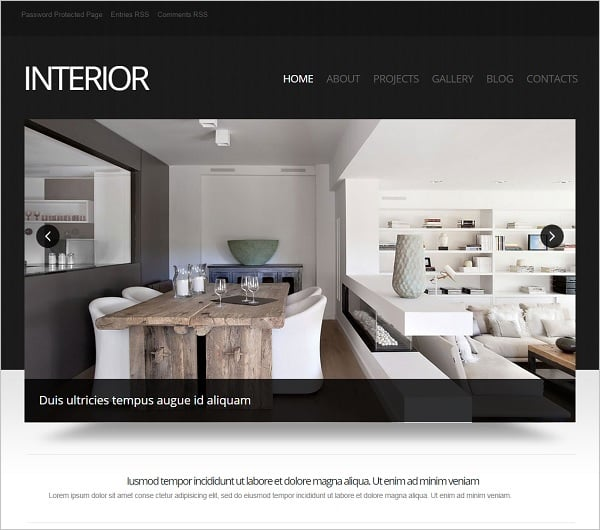 Interior Design Template with Large Picture Slider