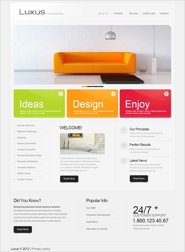 Colorful Interior Design Web Template