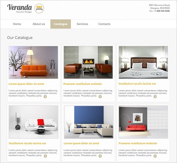 Interior Design Web Template with Catalog