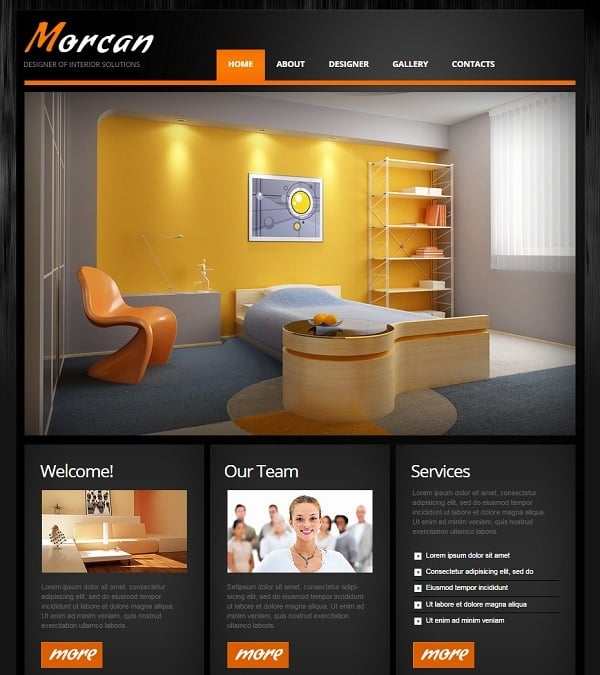 Dark Interior Design Website Template