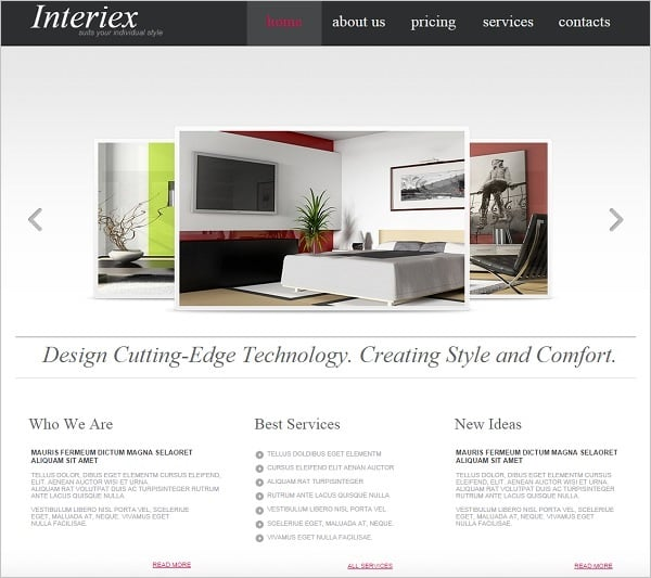 Interior Design Web Template with Slider