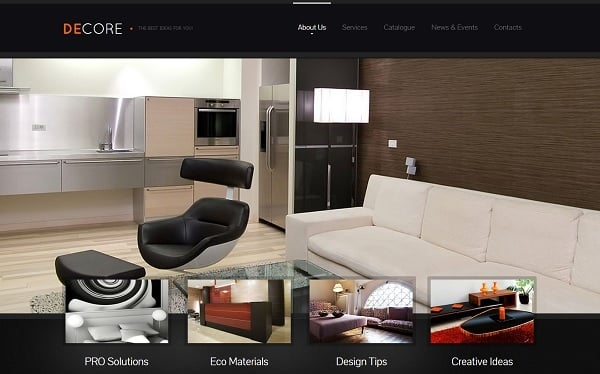 Black Interior Design Website Template