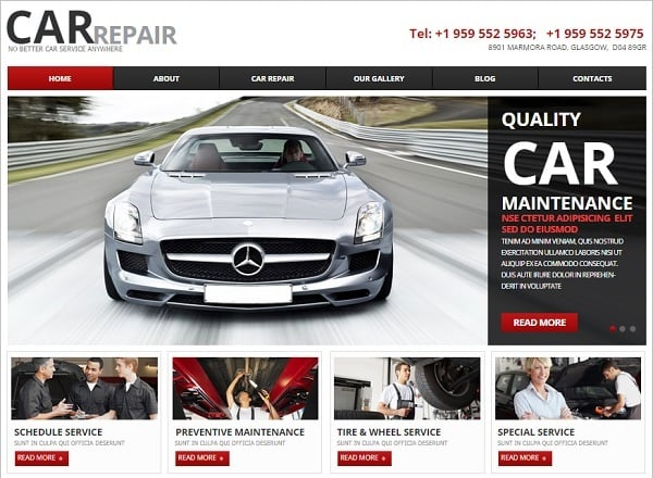 Car Website Template with jQuery Slider