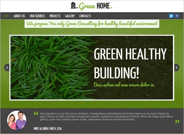 Green Web Template with Content Slider