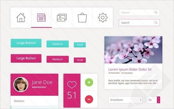 Pink Metro UI Kit