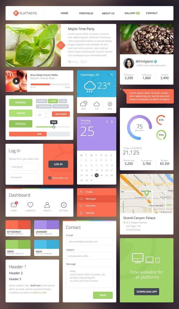 Flattastic Metro-Style UI Kit