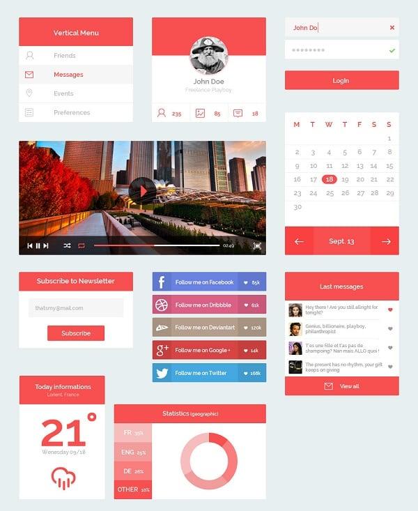 Red Metro-Style UI Kit