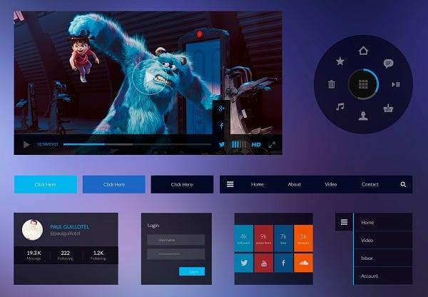 Dark-Purple Metro UI Kit