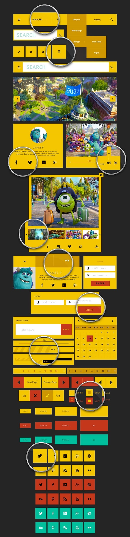 Yellow-Toned Metro UI Kit