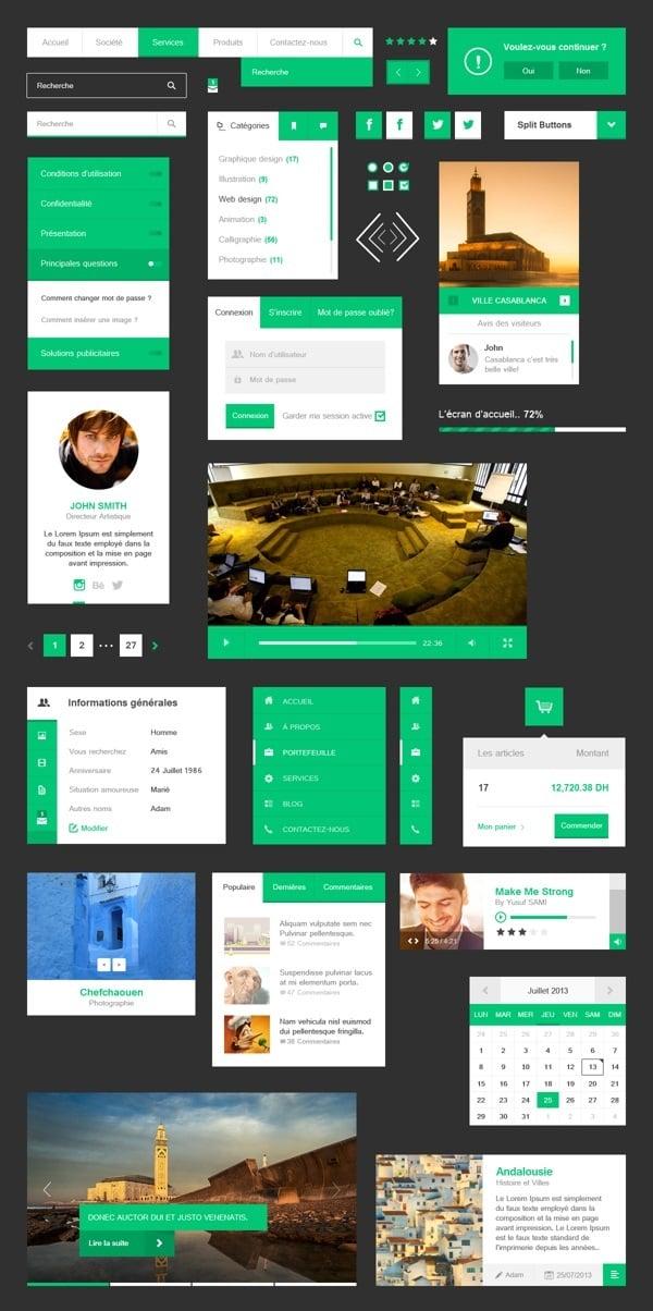 Metro-Style UI Kit in Green