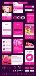 Neon-Pink Metro UI Kit