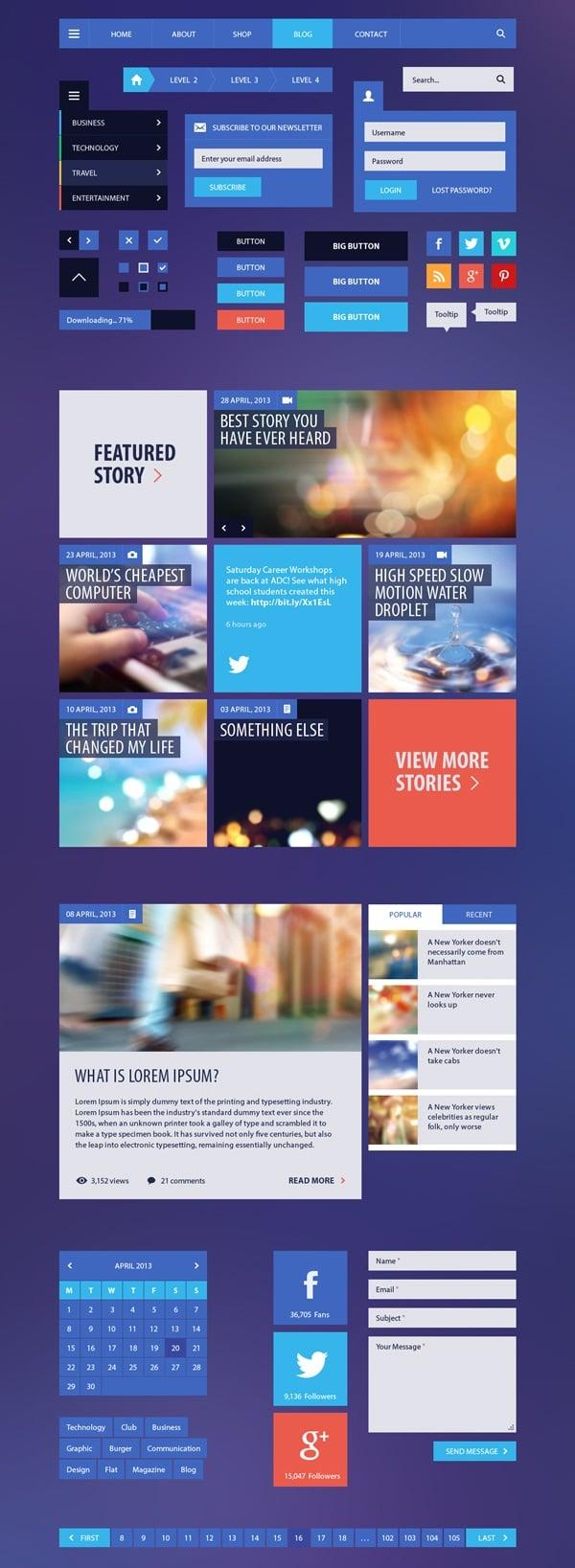Metro-Style UI Kit for Blog