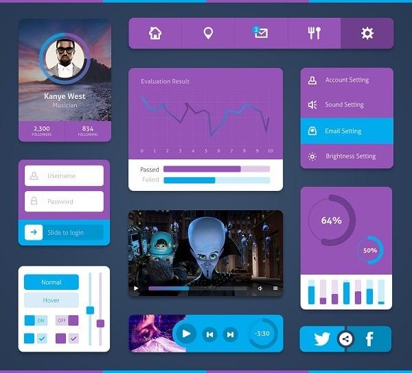 Purple Metro-Style UI Kit