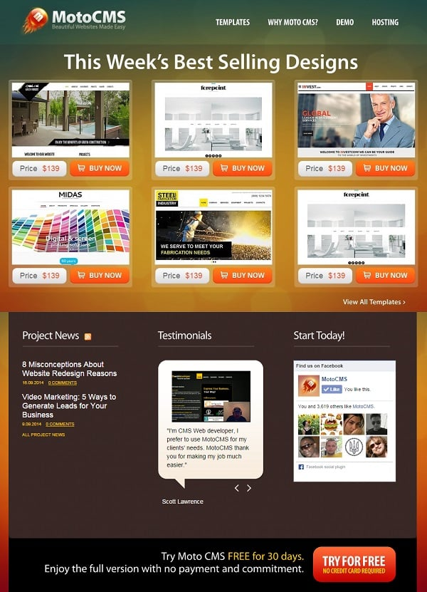 MotoCMS Landing Page Conversion optimization