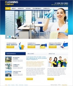 Cleaning Company Website Template in Blue