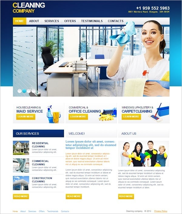 Cleaning Company Web Template In Blue