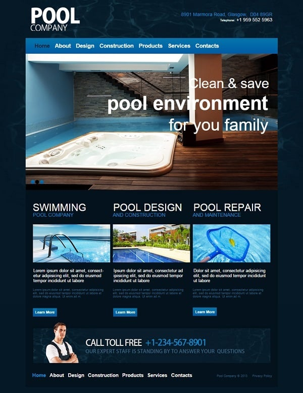 Pool Design and Maintenance Company Web Template