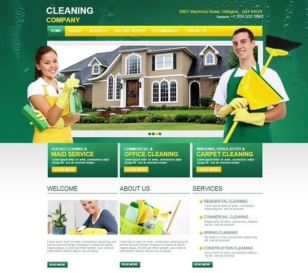 Cleaning company website templates sparkling solution for business green web template for cleaning company accmission Images