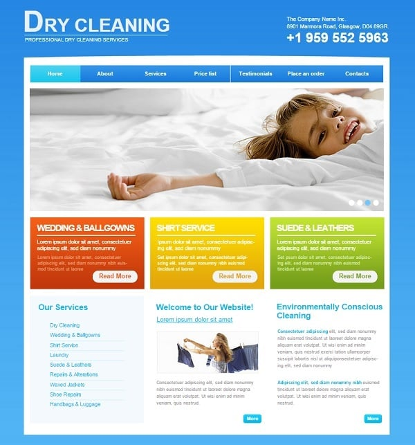 Cleaning Company Website Template in Metro Style