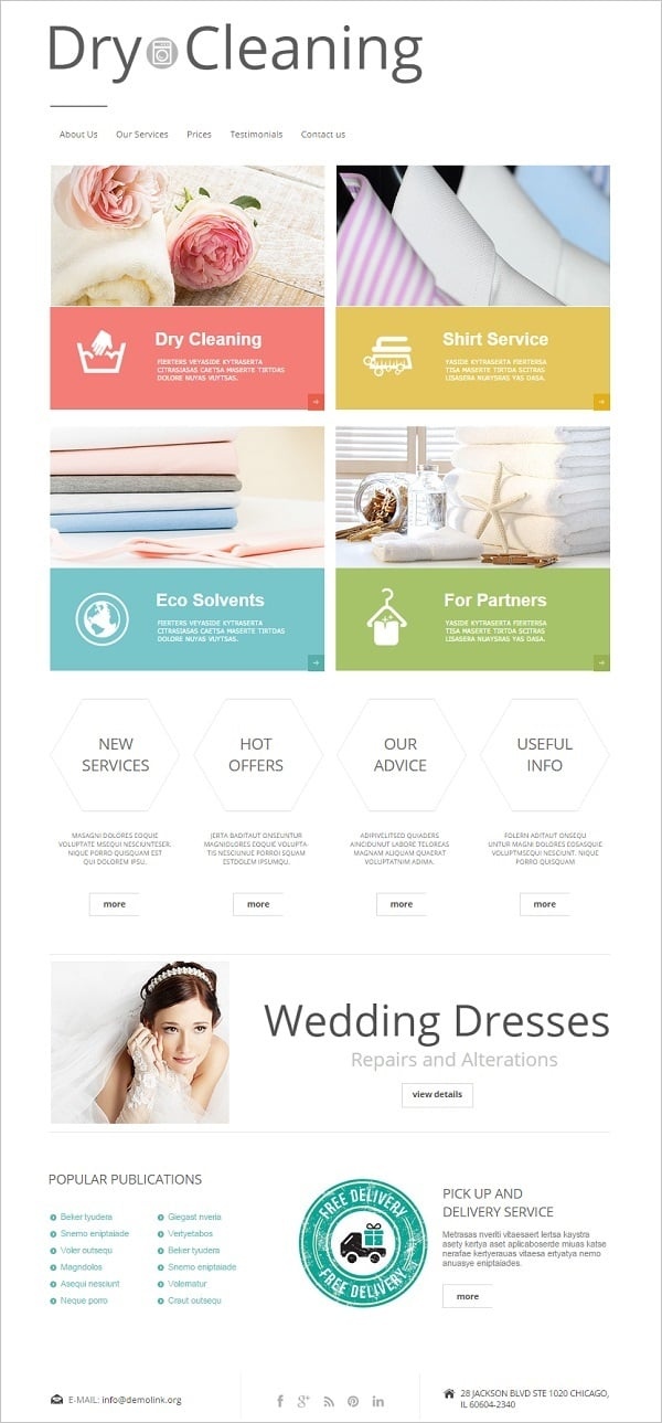 Cleaning company website templates sparkling solution for business dry cleaning company template in white wajeb Gallery