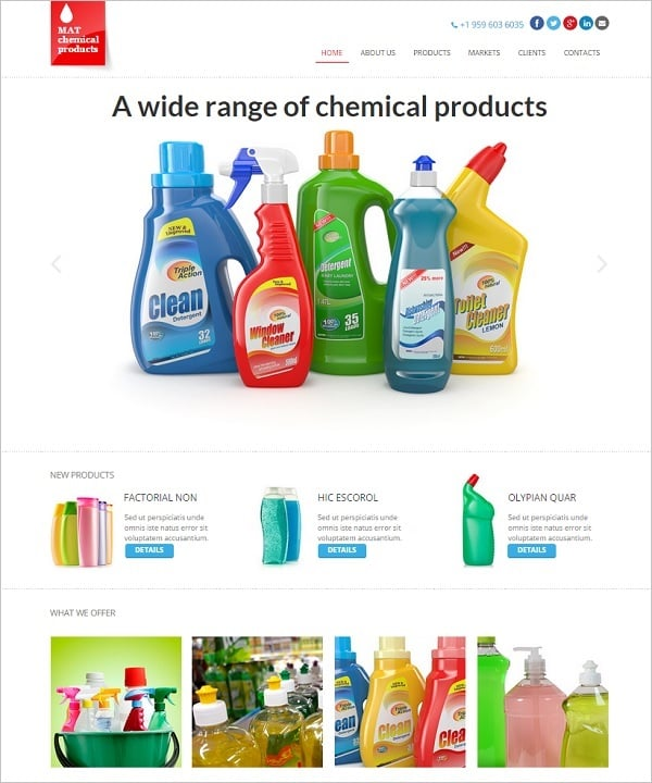 Web Template for Chemical Cleaning Products Company