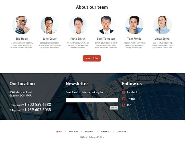 Website Footer - Web Template for Architecture Design Company