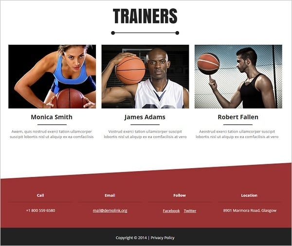 Website Footer - Basketball Website Template