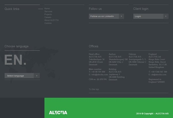 Website Footer - Alectia