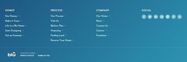 Website Footer - Blu Homes