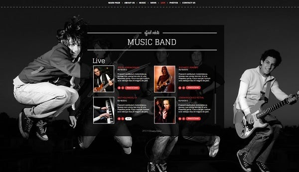 Web Template for Rock Music Band