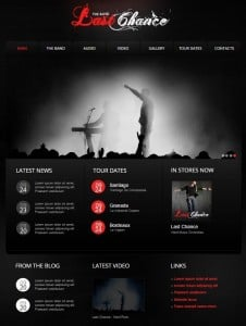 Music Band Website Template with Red Accents