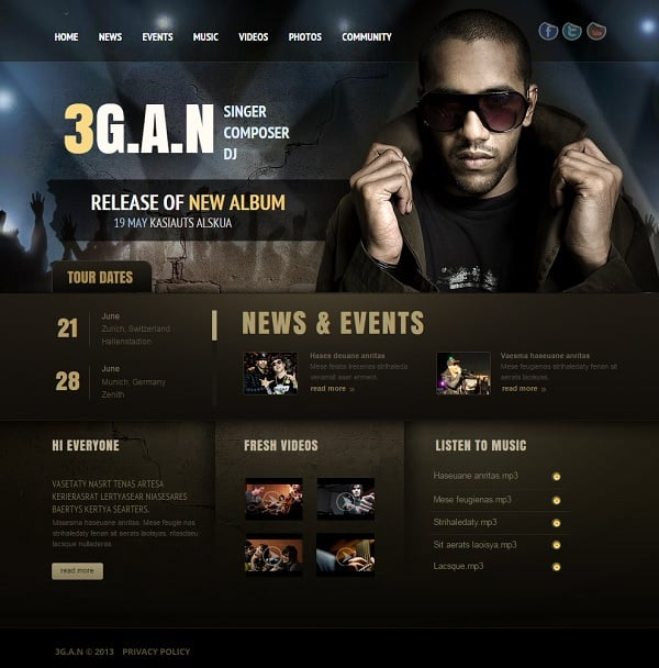Music band website templates that will rock you for Rap artist bio template