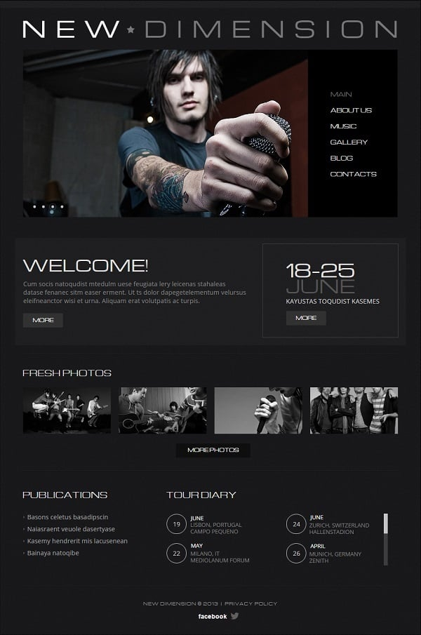 Music Band Website Template in Black