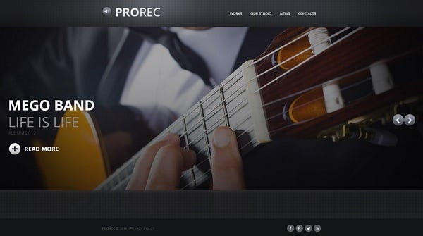 Music Band Web Template with Background Slider