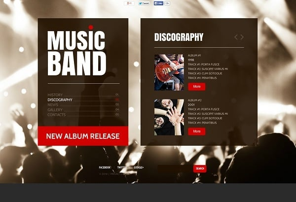 Monochrome Music Band Web Template