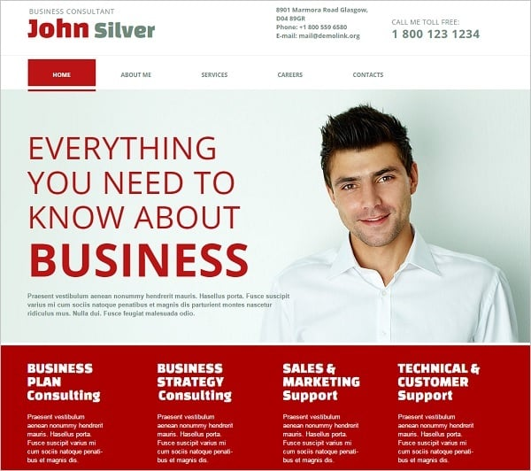 White-Red Web Template for Consulting Firm