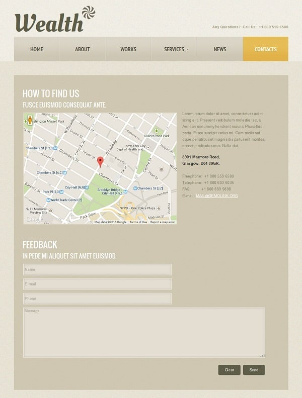 Consulting Website Template in Sepia