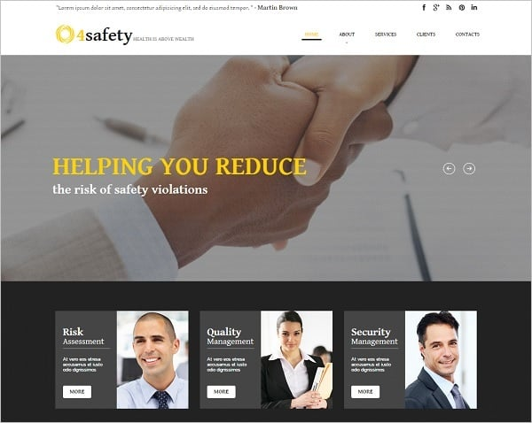 Web Template for Safety Consulting Firm
