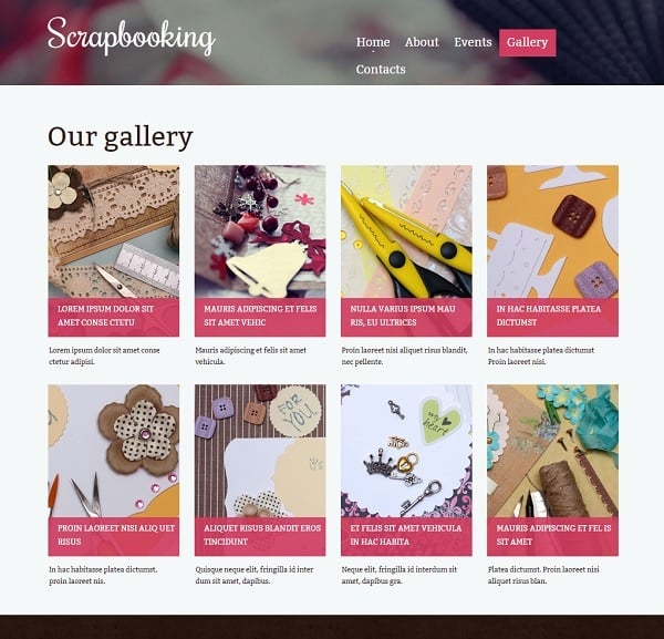 Website Template for Scarpbooking Enthusiast