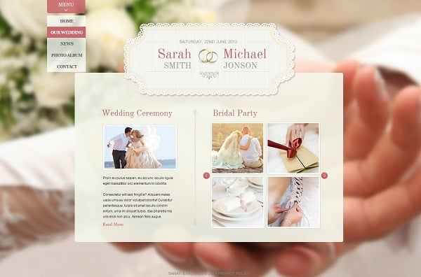 Wedding Website Template in Light Tones
