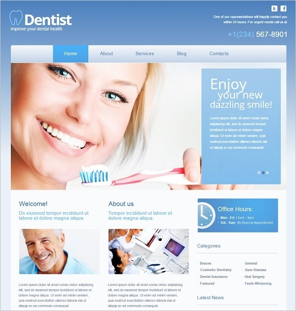 Dental Website Templates - Template with Slider